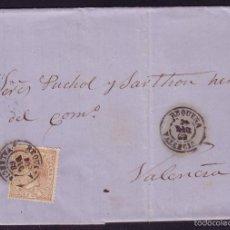 Sellos: ESPAÑA. (CAT. 96). 1868. CUBIERTA DE REQUENA A VALENCIA.50 MLS. MAT. REQUENA/VALENCIA. MAGNÍFICA.. Lote 55910336