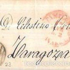 Sellos: CARTA CIRCULADA DE PAMPLONA A ZARAGOZA. AÑO 1852. Lote 56382329