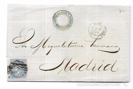 CARTA CIRCULADA DE BARCELONA A MADRID. AÑO 1867. (Sellos - España - Isabel II de 1.850 a 1.869 - Cartas)