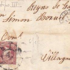 Sellos: CARTA COMPLETA CON SELLO 48 TIPO III DE BARCELONA A VILLAGARCIA-REYNO DE GALICIA---1860---. Lote 56739586