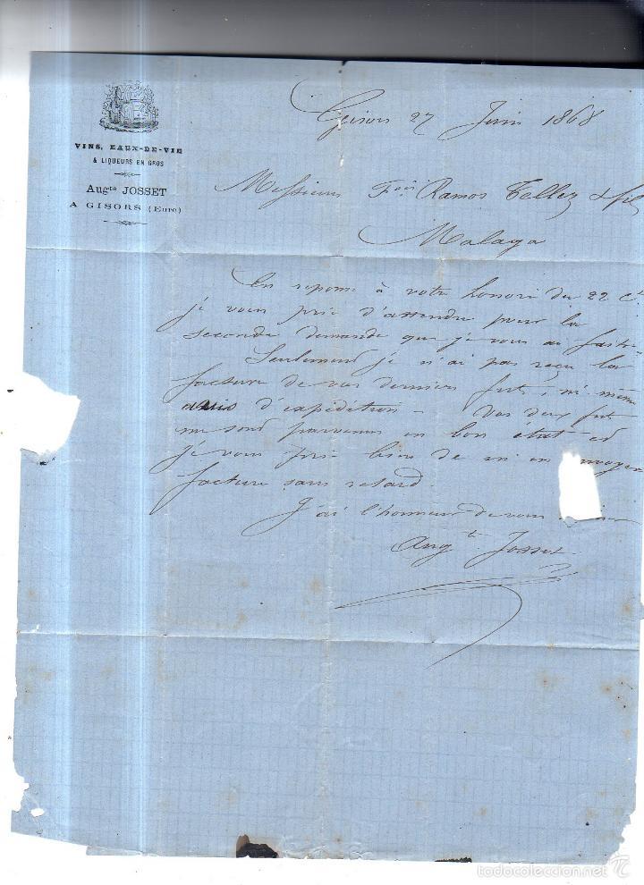 CIRCULAR PUBLICITARIA. VINOS, EAUX- DE-DEVIE AUGTE JOSSET. DE GIRONS A MALAGA. 1868. CON SELLO. VER (Sellos - España - Isabel II de 1.850 a 1.869 - Cartas)