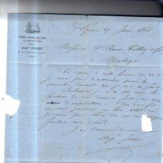 Sellos: CIRCULAR PUBLICITARIA. VINOS, EAUX- DE-DEVIE AUGTE JOSSET. DE GIRONS A MALAGA. 1868. CON SELLO. VER. Lote 56784492