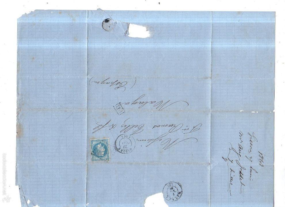 Sellos: CIRCULAR PUBLICITARIA. VINOS, EAUX- DE-DEVIE AUGTE JOSSET. DE GIRONS A MALAGA. 1868. CON SELLO. VER - Foto 2 - 56784492