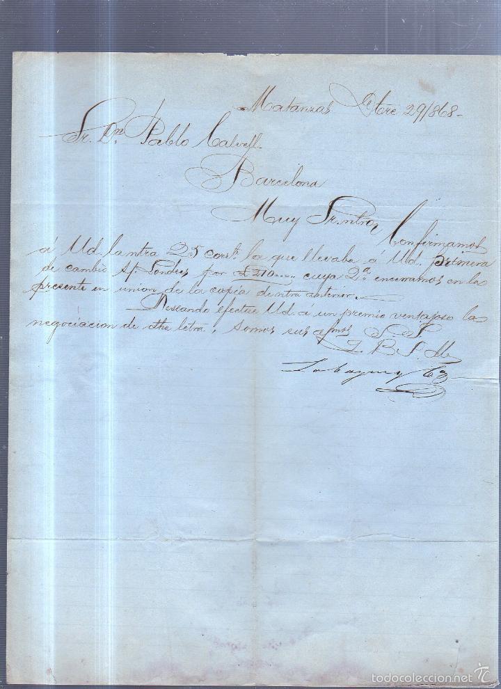 CIRCULAR PUBLICITARIA. LABAYEN & CIA. DE MATANZAS, CUBA A BARCELONA. CON SELLO. VER. 1868 (Sellos - España - Isabel II de 1.850 a 1.869 - Cartas)