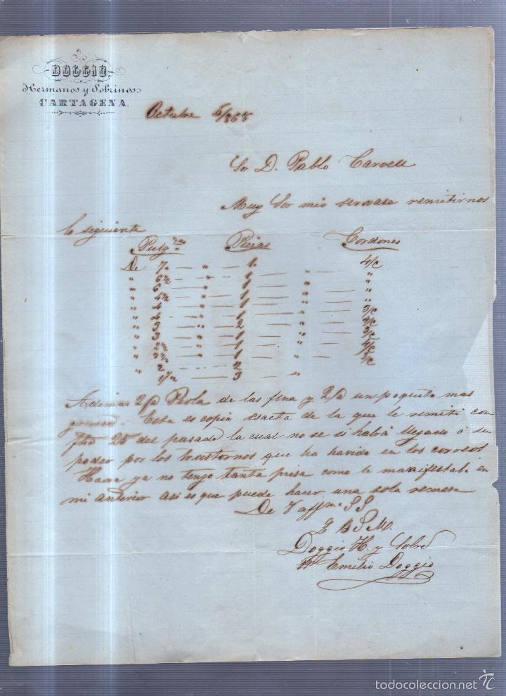 CIRCULAR PUBLICITARIA. DOGGIO. DE CARTAGENA A BARCELONA. 1868. CON SELLO. VER (Sellos - España - Isabel II de 1.850 a 1.869 - Cartas)