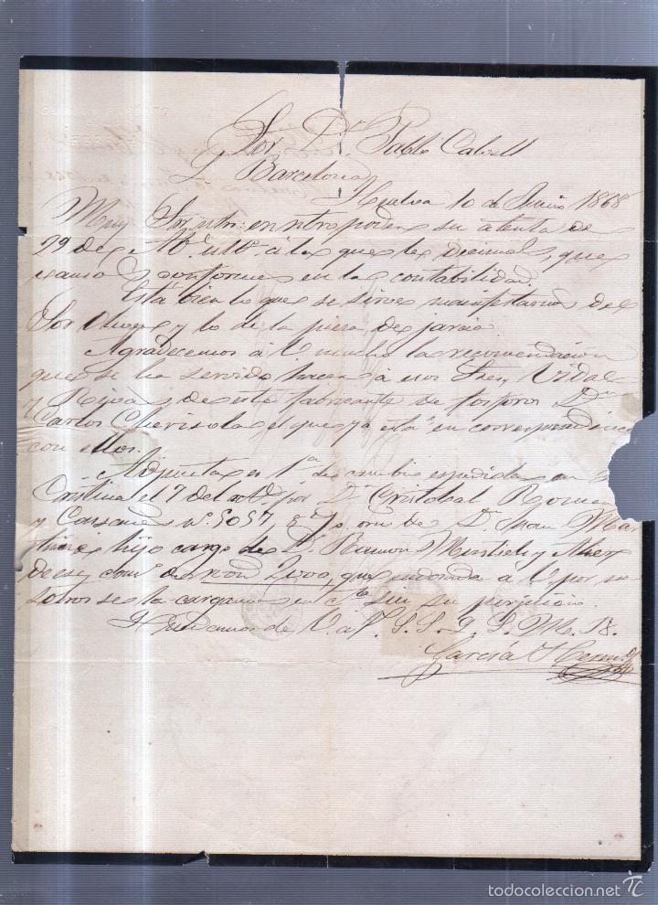 CIRCULAR PUBLICITARIA. GARCIA HERMANO. DE HUELVA A BARCELONA. 1868. CON SELLO. VER (Sellos - España - Isabel II de 1.850 a 1.869 - Cartas)