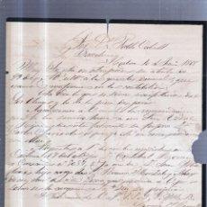 Sellos: CIRCULAR PUBLICITARIA. GARCIA HERMANO. DE HUELVA A BARCELONA. 1868. CON SELLO. VER. Lote 56786138