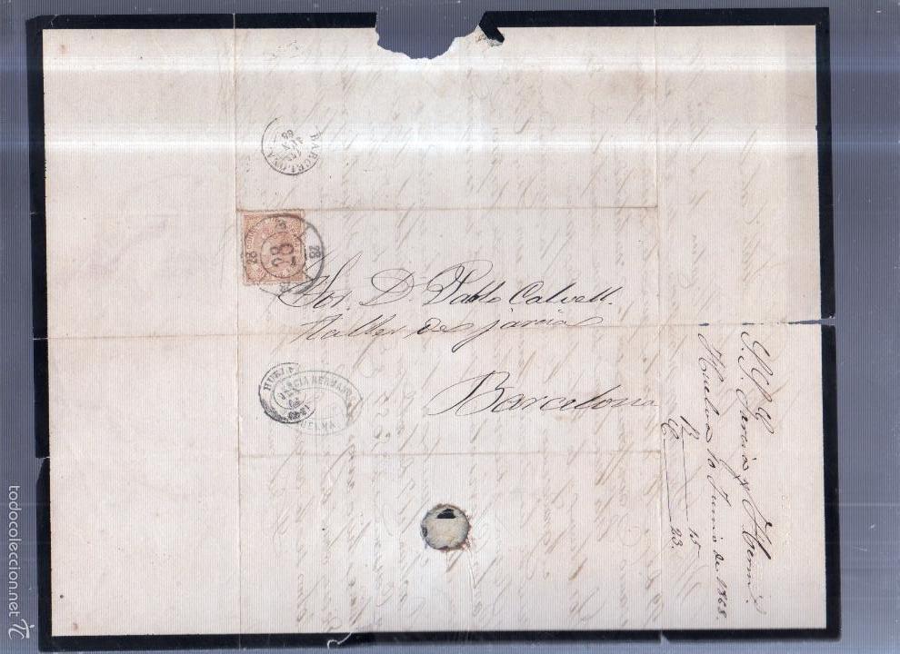 Sellos: CIRCULAR PUBLICITARIA. GARCIA HERMANO. DE HUELVA A BARCELONA. 1868. CON SELLO. VER - Foto 2 - 56786138