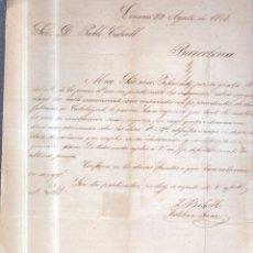 Sellos: CIRCULAR PUBLICITARIA. ESTEBAN SANZ. DE LINARES A BARCELONA. 1868. CON SELLO. VER. Lote 56786176