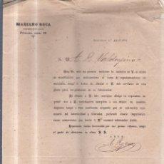 Sellos: CIRCULAR PUBLICITARIA. MARIANO ROCA. DE BARCELONA A JEREZ. 1894. CON SELLO. VER. Lote 56786708