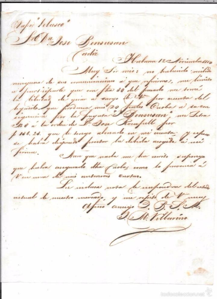 CARTA LA HABANA - CADIZ. POR VAPOR VELASCO. 1857. (Sellos - España - Isabel II de 1.850 a 1.869 - Cartas)
