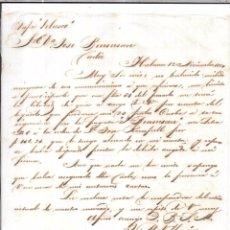 Sellos: CARTA LA HABANA - CADIZ. POR VAPOR VELASCO. 1857.. Lote 57227440