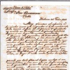 Sellos: CARTA LA HABANA - CADIZ. POR FRAGATA CORREO DE CUBA . 1856.. Lote 57227479