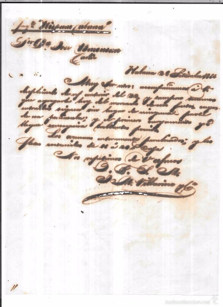 CARTA LA HABANA - CADIZ. POR FRAGATA HISPANO CUBANA . 1856. (Sellos - España - Isabel II de 1.850 a 1.869 - Cartas)