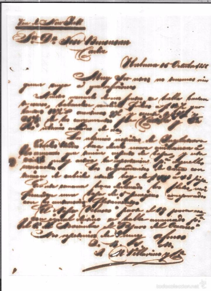 CARTA LA HABANA - CADIZ. POR VIA DE NEW YORK . 1856. (Sellos - España - Isabel II de 1.850 a 1.869 - Cartas)