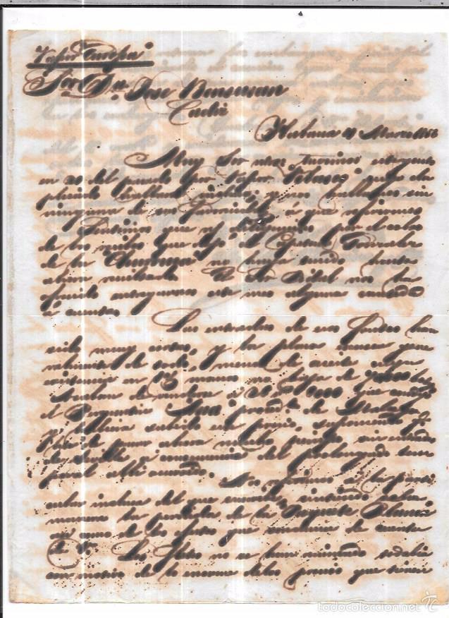 CARTA LA HABANA - CADIZ. POR VIA DE LOS ESTADOS UNIDOS . 1856. (Sellos - España - Isabel II de 1.850 a 1.869 - Cartas)