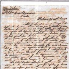 Sellos: CARTA LA HABANA - CADIZ. POR VAPOR COLON. 1856.. Lote 57227672