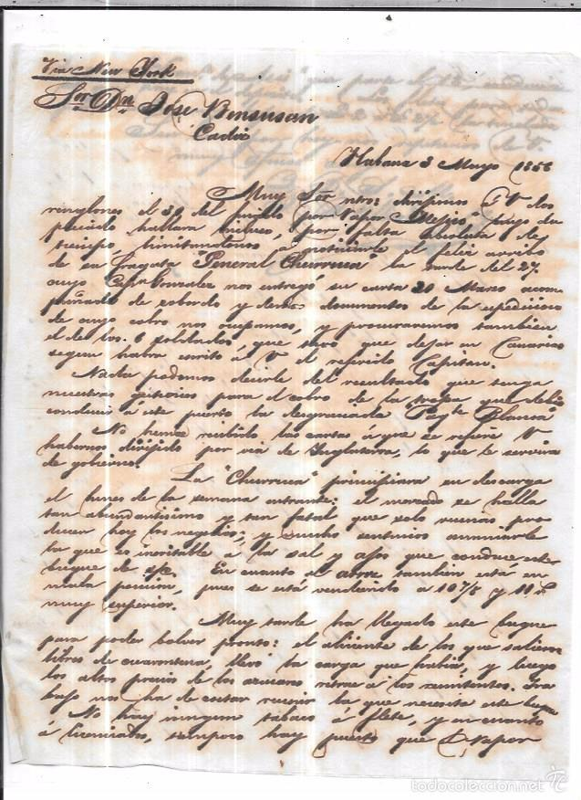 CARTA LA HABANA - CADIZ. POR VIA NEW YORK. 1856. (Sellos - España - Isabel II de 1.850 a 1.869 - Cartas)