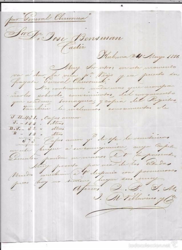 CARTA LA HABANA - CADIZ. POR GENERAL CHURRUCA. 1856. (Sellos - España - Isabel II de 1.850 a 1.869 - Cartas)