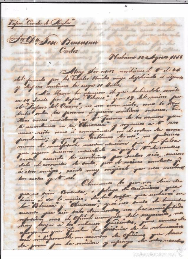 CARTA LA HABANA - CADIZ. POR CONDE DE REGLA . 1856. (Sellos - España - Isabel II de 1.850 a 1.869 - Cartas)