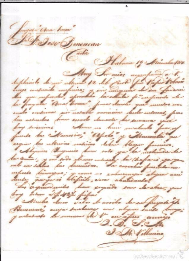 CARTA LA HABANA - CADIZ. POR FRAGATA ANA TERESA. 1857. (Sellos - España - Isabel II de 1.850 a 1.869 - Cartas)