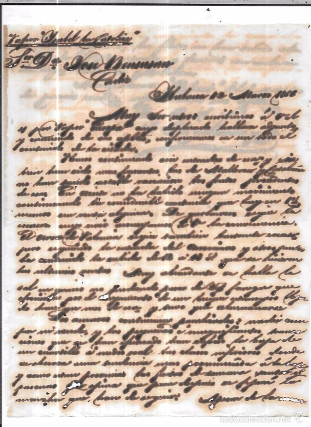 CARTA LA HABANA - CADIZ. POR VAPOR ISABEL LA CATOLICA. 1856. (Sellos - España - Isabel II de 1.850 a 1.869 - Cartas)