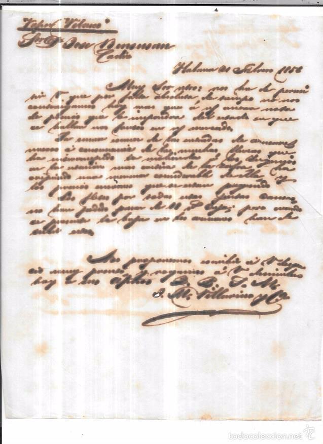 CARTA LA HABANA - CADIZ. POR VAPOR VELASCO. AÑO 1856. (Sellos - España - Isabel II de 1.850 a 1.869 - Cartas)