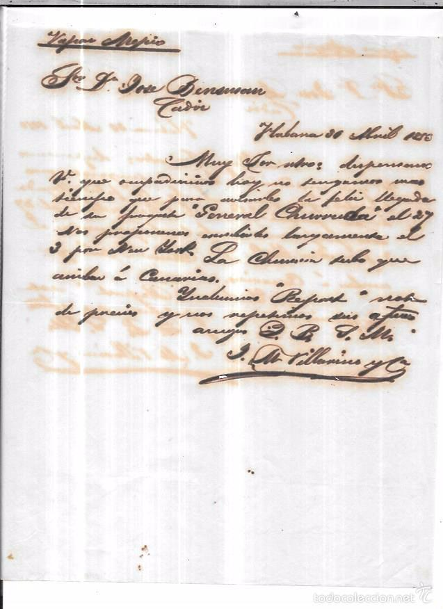 CARTA LA HABANA - CADIZ. POR VAPOR AREPIO. AÑO 1856. (Sellos - España - Isabel II de 1.850 a 1.869 - Cartas)
