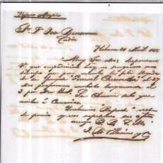Sellos: CARTA LA HABANA - CADIZ. POR VAPOR AREPIO. AÑO 1856.. Lote 57228454