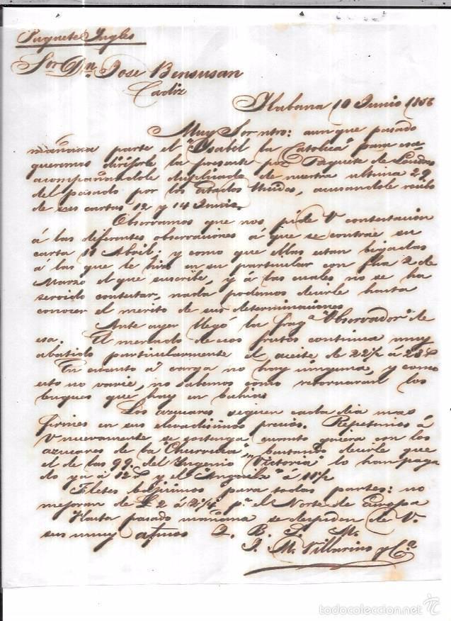 CARTA LA HABANA - CADIZ. POR PAQUETE INGLES. AÑO 1856. (Sellos - España - Isabel II de 1.850 a 1.869 - Cartas)