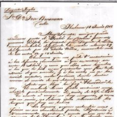 Sellos: CARTA LA HABANA - CADIZ. POR PAQUETE INGLES. AÑO 1856.. Lote 73963039