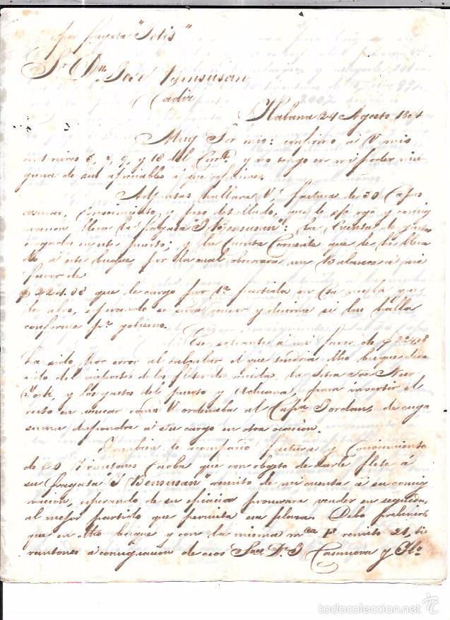 CARTA LA HABANA - CADIZ. POR FRAGATA SOLIS. AÑO 1854. (Sellos - España - Isabel II de 1.850 a 1.869 - Cartas)