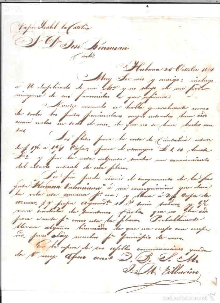 CARTA LA HABANA - CADIZ. POR VAPOR ISABEL LA CATOLICA. 1854. (Sellos - España - Isabel II de 1.850 a 1.869 - Cartas)