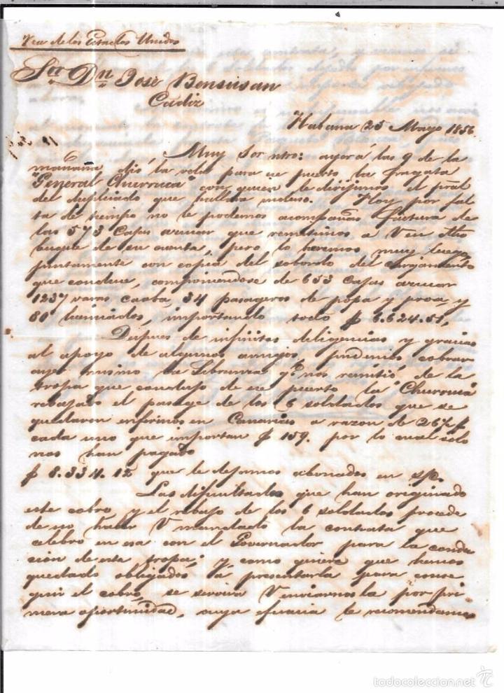 CARTA LA HABANA - CADIZ. POR VIA DE LOS ESTADOS UNIDOS. AÑO 1856. (Sellos - España - Isabel II de 1.850 a 1.869 - Cartas)