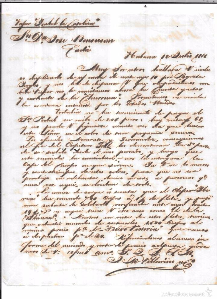 CARTA LA HABANA - CADIZ. POR ISABEL LA CATOLICA. AÑO 1856. (Sellos - España - Isabel II de 1.850 a 1.869 - Cartas)