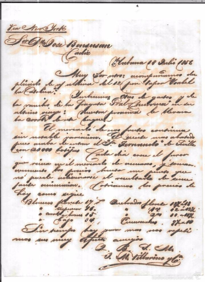 CARTA LA HABANA - CADIZ. POR VIA NEW YORK. AÑO 1856. (Sellos - España - Isabel II de 1.850 a 1.869 - Cartas)