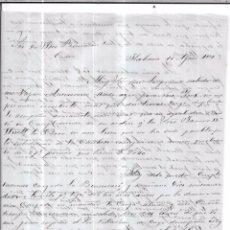 Sellos: CARTA LA HABANA - CADIZ. POR FRAGATA BENSUSAN. AÑO 1856.. Lote 57229021