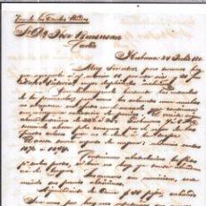 Sellos: CARTA LA HABANA - CADIZ. POR VIA DE LOS ESTADOS UNIDOS. AÑO 1856.. Lote 57229025
