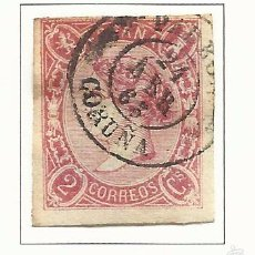 Sellos: 1865 ISABEL II EDIFIL 69 FECHADOR PADRON CORUÑA VALOR 2016 CATALOGO 47.-- EUROS. Lote 58255535