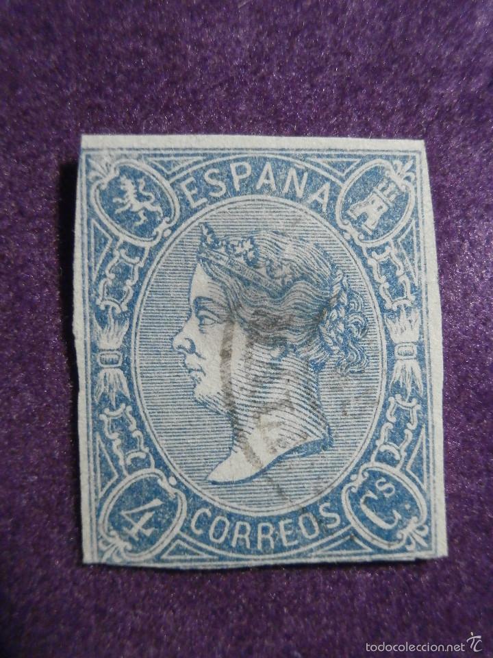 SELLO - CORREOS - ESPAÑA - RARO - EDIFIL 75 - NE 2 ? - SIN DENTAR USADO - 4 CUARTOS AZUL - ISABEL II (Sellos - España - Isabel II de 1.850 a 1.869 - Usados)