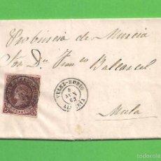 Sellos: CARTA DE VELEZ-RUBIO (ALMERÍA) A MULA (MURCIA). EDIFIL 58 - FECHADA 8 DE JUNIO DE 1863.. Lote 59768396