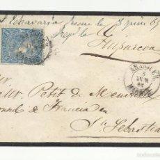 Sellos: CIRCULADA 1865 DE ARANJUEZ A CONSUL DE FRANCIA EN SAN SEBASTIAN. Lote 60422407