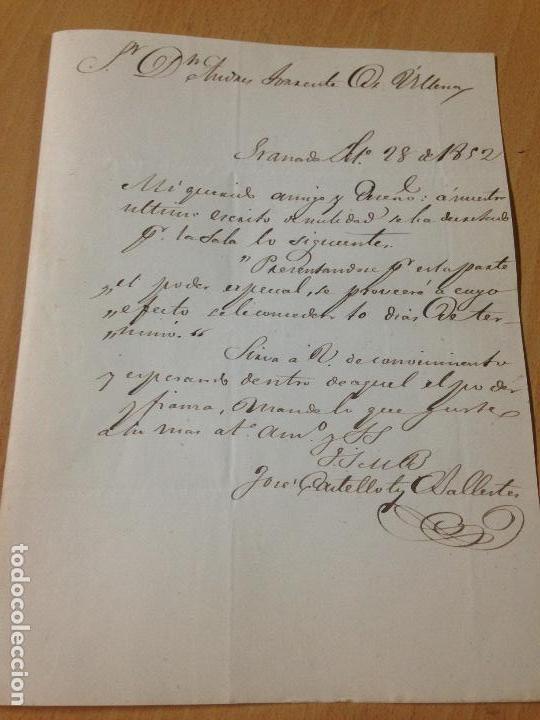 PREFILATELIA CARTA SOBRE CIRCULADO GRANADA A VÉLEZ BLANCO ALMERIA 1852 (Sellos - España - Isabel II de 1.850 a 1.869 - Cartas)