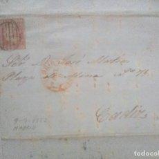 Sellos: CARTA Y SELLO DE 6 CUARTOS DE ISABEL II,MATASELLOS DE PARRILLA, DE MADRID A CADIZ 1852. Lote 62291860