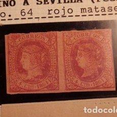 Sellos: 4 CUARTOS ROJO DE 1864 Nº 64 PAREJA NUEVOS - TAL FOTO - VARIEDADES EN LOS SELLOS. Lote 63424392