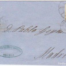 Sellos: ENVUELTA: SELLO 52. VALENCIA A MADRID. 1862. Lote 65838790