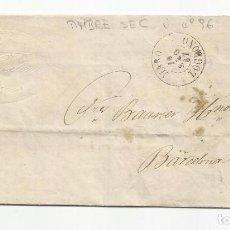 Sellos: CIRCULADA Y ESCRITA 1867 DE HARO LOGROÑO A BARCELONA CON FECHADOR LLEGADA. Lote 66134626