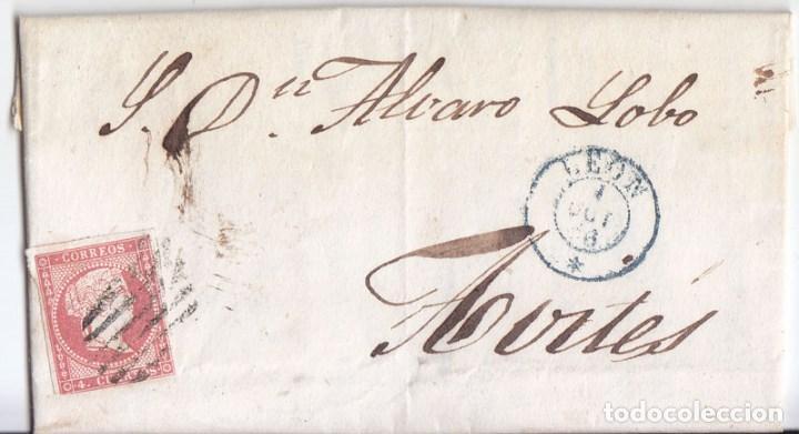 CARTA ENTERA. LEÓN. PARRILLA Y FECHADOR AZUL. 1856 (Sellos - España - Isabel II de 1.850 a 1.869 - Cartas)