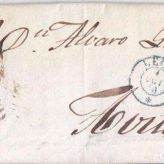 Sellos: CARTA ENTERA. LEÓN. PARRILLA Y FECHADOR AZUL. 1856. Lote 67665397