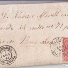 Sellos: CARTA ENTERA MANRESA. BARCELONA. CATALUÑA. 4 CUARTOS. BONITO FECHADOR. 1864. Lote 67953213